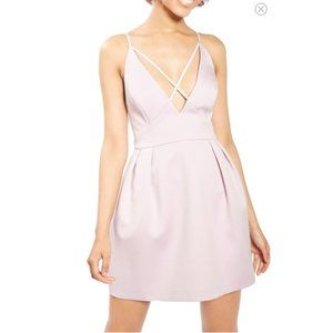TOPSHOP cross front lavender mini dress